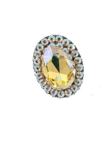 Rocker Jewelry Large Yellow Crystal Ring Rocker Cocktail Ring