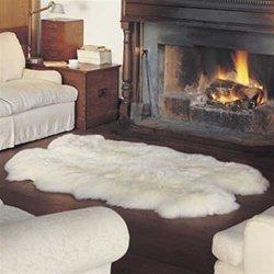 Quad Sheepskin Pelt Rug 4' x 6' from Bowron New Zealand: Natural White & Black