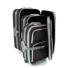 3er Softcase Kofferset Trolleys dunkelbraun 120