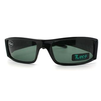 All Black Glasse Lens Locs Rectangular Cholo Gangster Sports Biker Sunglasses