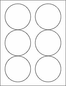 """(6 SHEETS) 36 3-1/3"""" BLANK WHITE ROUND CIRCLE STICKERS FOR INKJET & LASER PRINTERS ~ SIZE: 8-1/2""""X11"""" STANDARD SHEETS"""