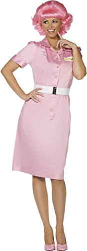 [Lady Fancy Dress Frenchy Beauty School Drop Out Costume Pink Med Uk Size 12-14] (Frenchy Pink Ladies Costume)