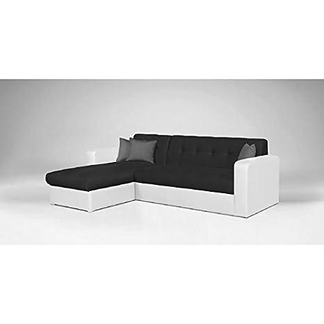 Roman Sofá de esquina reversible convertible de piel sintética y textil, 4 plazas, 235 x 85-153 x 81 cm, color negro y blanco
