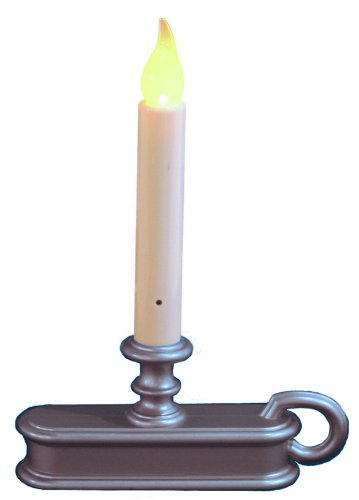 Carlton Fpc1225P Ed Single-Tier Christmas Window Candle With Light Sensor, Pewter Finish