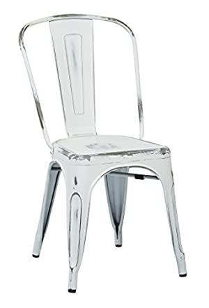 OSP Designs Bristow Metal Seat and Back Armless Chair, Antique White