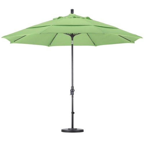 California Umbrella GSCUF118705-5446-DWV 11-Feet Sunbrella Fabric Fiberglass Crank Lift Market Umbrella with Black Pole, Forest Green
