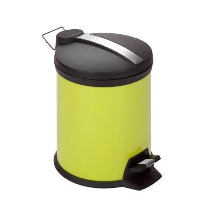 5 l Lime Green Round Metal Step-On Touchless Trash Can HMD