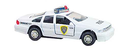 Police Car- Die Cast Metal - Pull Back and Go - (WHITE) - 1