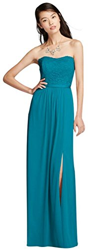 Lace and Mesh Long Strapless Bridesmaid Dress Style F18095, Oasis, 24 (Davids Bridal Long Dress Oasis compare prices)
