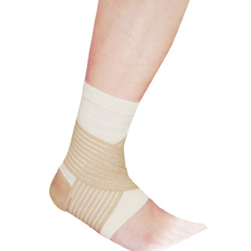 White Ankle Elastic Support Brace w Compression Strap