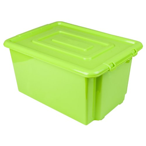 New Green Whitefurze Plastic Stackable Container Large Storage Box With Lid 52l