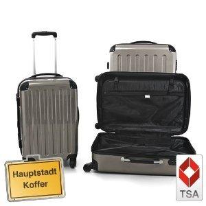 3er Kofferset Hartschale Trolley titan TSA ZAHLENSCHLOSS,130l,87l,45
