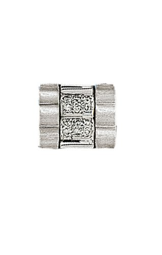 14K White Gold Masculine Tie Tac with .09 ct. Diamonds in the Center86206