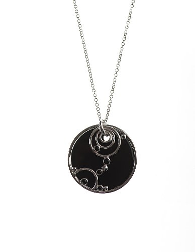 Silver 20 Inches Black Agate Swirl Disc Necklet