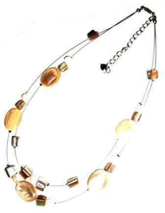 Tribe cream oval shell two strand necklace
