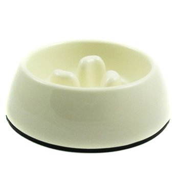 Slow-Eating Anti-Gulping Food Bowl (for Dogs & Cats) - White, Large
