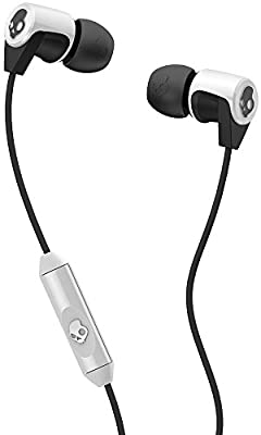 Skullcandy Riff Noise Isolating Earbuds In Ear Headphones Headset with In Line Mic1 Remote - White / Black
