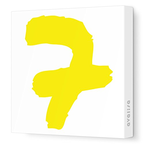 """Avalisa Stretched Canvas Number 7 Nursery Wall Art, Yellow, 18"""" X 18"""" front-1011108"""