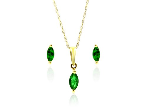 9ct Yellow Gold Emerald Earrings  &  Pendant Set + 46cm Prince of Wales Chain