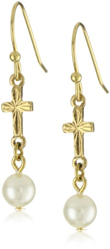 The Vatican Library Collection Cross and Pearl Drop Earrings