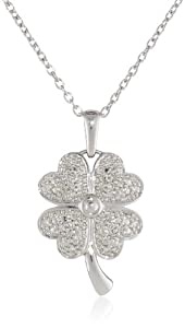 Amazon+Curated+Collection Sterling Silver Four-Leaf Clover with Diamond-Accent Pendant Necklace (0.10 cttw, I-J Color, I2-I3 Clarity), 18