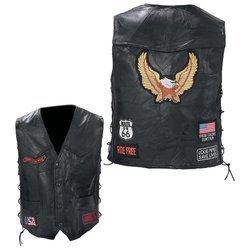Diamond Plate Rock Design Genuine Buffalo Leather Biker Vest 3x Multiple Patches Black Snaps