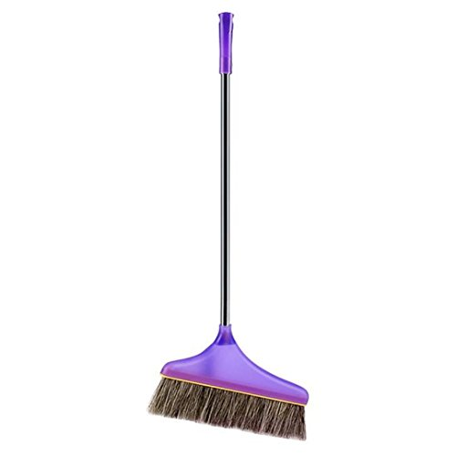 Koolee Remover Broom with Non-Slip Metal Handle, Soft Animal Bristles Head Angle Broom 1-1/2