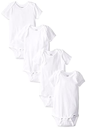 Gerber Unisex-Baby Infant 4 Pack Onesies Brand, White, 12 Months