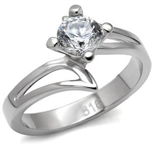 NEVER FADE - Stainless Steel Round Cut Solitaire CZ Bypass Engagement Ring