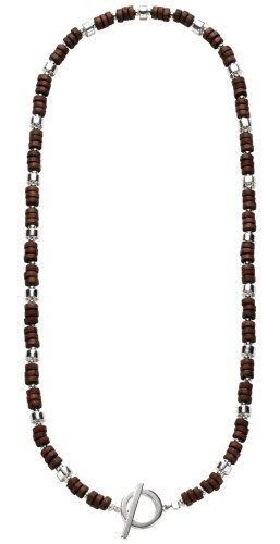 Fred Bennett Men's N924 T Bar Necklace with Silver and Wooden Beads