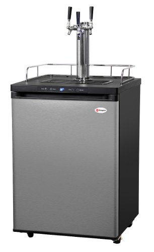 Great Deal! Kegco K309SS-3HB Triple Faucet Digital Homebrew Kegerator - Stainless Steel Door