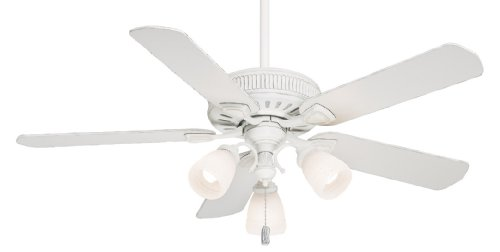 Casablanca 54005 Ainsworth Gallery 54-Inch 5-Blade 3-Light Ceiling Fan, Cottage White with Cottage White Blades and Frosted White Glass Globes