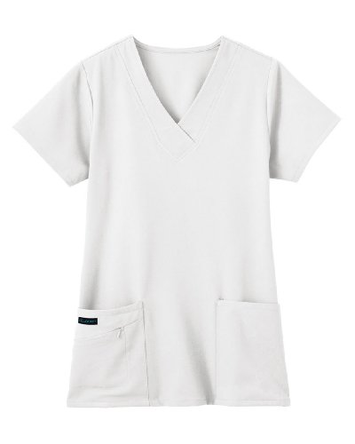 Classic Fit Collection by Jockey® Scrubs Women's Tri Blend Solid Scrub Top Medium White