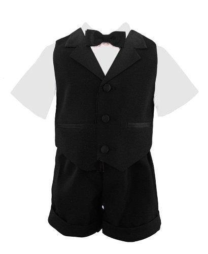 G224 Baby And Toddler Boy Summer Tuxedo Short Set Black (4) front-410017