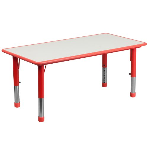 Flash Furniture Adjustable Rectangular Plastic Activity Table With Grey Top, 23.625 By 47.25-Inch, Red front-49616