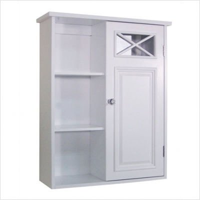 Elite Home Fashions Dawson Collection Shelved Wall Cabinet, White