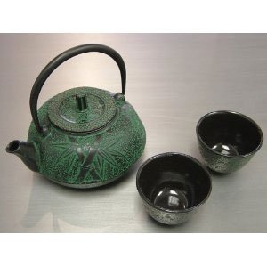 Japanese Cast Iron Tea Pot Cup Set Green Bamboo