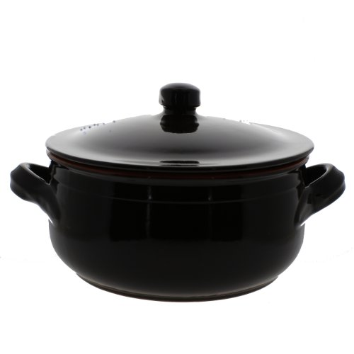 Coli Bakeware Cl11Br--C33 Italian Ceramic Round Sauce Pan With Lid, 8.25-Quart, Brown
