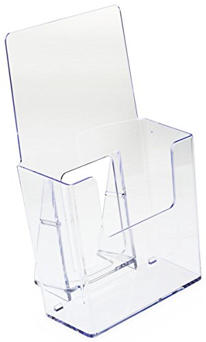 Displays2go Set of 60, Clear Plastic Brochure Holders for 4w Literature, Slant-Back Tabletop Leaflet Dispensers with Low-Cut Front Panel (BRSD40)