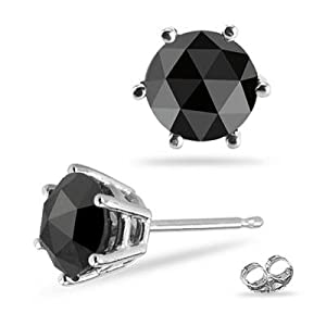 1/2 (0.46-0.55) Cts of 5.40-5.50 mm AAA Round Rose Cut Black Diamond Mens Stud Earring in 14K White Gold-Screw Backs