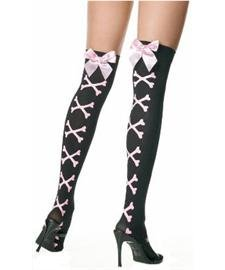 Opaque Satin Bow Stockings Skull Crossbones Thigh Highs One Size Fits Most