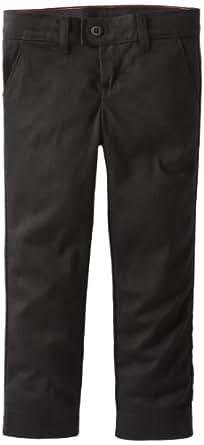 Dickies Little Girls' Uniform Stretch Slim Straight Pant, Black, 4
