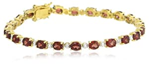 18k Yellow Gold Plated Sterling Silver Garnet and Diamond Accent Bracelet, 7.25