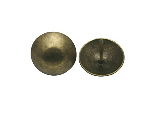 "Great Deal! Generic Round Large-headed Nail 0.9"" Diameter Color Antique Brass Pack of 50"