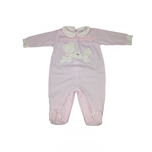 Tuta tutina cotone bimba neonato le chicche rosa - 1 m