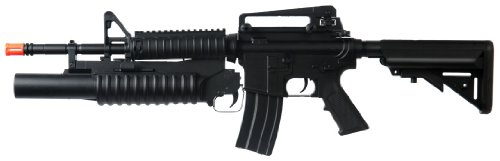 Dboys M3181Ab M4-A1 Electric Airsoft Gun Semi & Full Auto Assault Rifle Fps-330 W/ M-203 Grenade Launcher, 2 Magazines, Flashlight, Foregrip, Speedloader, 2 Stocks
