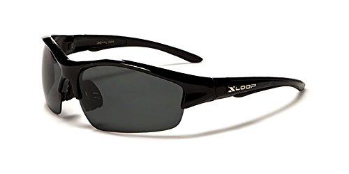 New XLoop AURORA Polarised Sport Wrap Unisex Sunglasses Adult Medium (black frame grey lens)