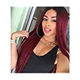 Long Wigs for Women with Side Bangs Dark Roots Ombre Wine Red Natural Style Wig Long Straight Heat Resistant Cosplay Hair 28inch (Color: red, Tamaño: long)