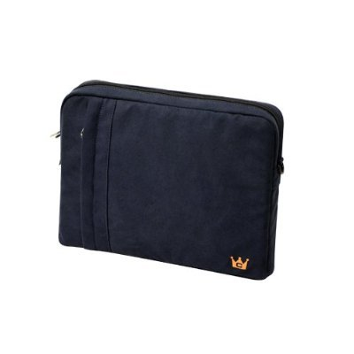CaseCrown Faux Suede Protective Sleeve with Shoulder Strap and Pocket (Blue Asphalt) for the Apple iPad