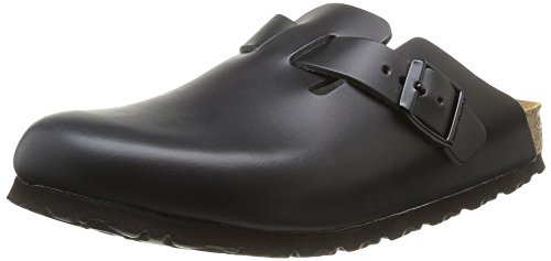 Birkenstock Boston - Sabot unisex - adulto, nero (black leather), 39 (Normale)